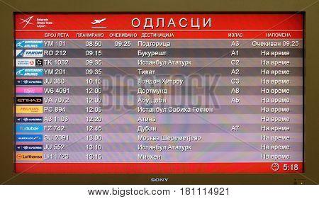 BELGRADE, SERBIA - MARCH 03: Flight board at the airport in Belgrade airport, on March 03, 2016 in Belgrade, Serbia.