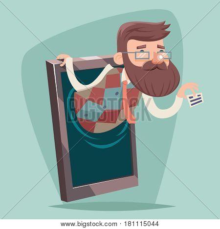 Geek Hipster Businessman Agent Online Mobile Phone Sale Greeting Card Presentation Advertisement Vintage Cartoon Design Vector Illustration