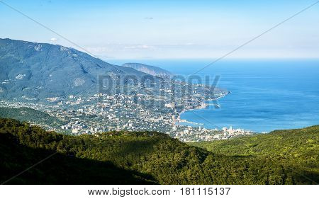 Aerial view of city of Yalta from the Mount Ai-Petri. Landscape of Crimea, Russia.