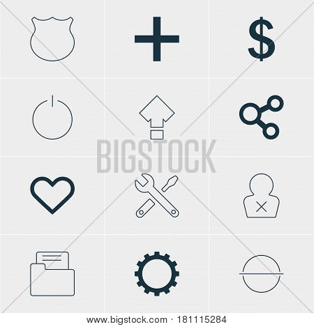Vector Illustration Of 12 User Icons. Editable Pack Of Switch Off, Cogwheel, Publish And Other Elements.