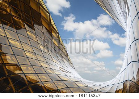 MALMO SWEDEN - MARCH 08 2017: Emporia Shopping Center largest shopping mall in Scandinavia opened on 25 October 2012. Luxury shopping mall designed by architect Gert Wingardh's.