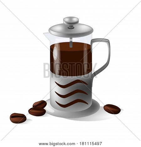 Vector illustration of french press isolated on the white background and coffee beans