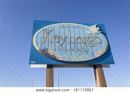 Key Largo Fl USA - March 16 2017: Welcome to Key Largo sign at the highway number one in Florida United States