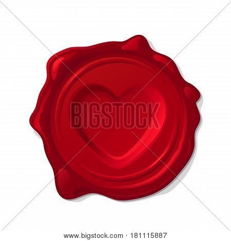 Red wax seal isolated on transparent background. Concave heart