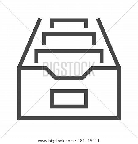 File Cabinet Thin Line Vector Icon. Flat icon isolated on the white background. Editable EPS file. Vector illustration.