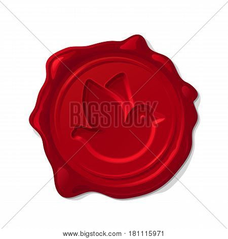 Red wax seal isolated on transparent background. Concave post pigeon