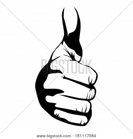 monochrome contour of hand with front view signal ok vector illustration