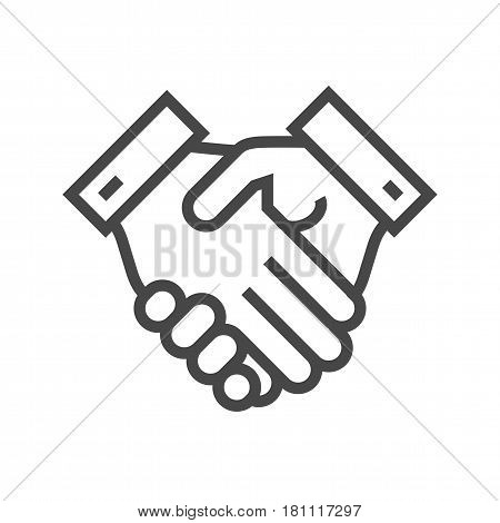 Handshake Thin Line Vector Icon. Flat icon isolated on the white background. Editable EPS file. Vector illustration.