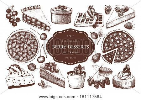 Vintage set of traditional cake, tart and pie sketch. Sweet bakery. Top view.