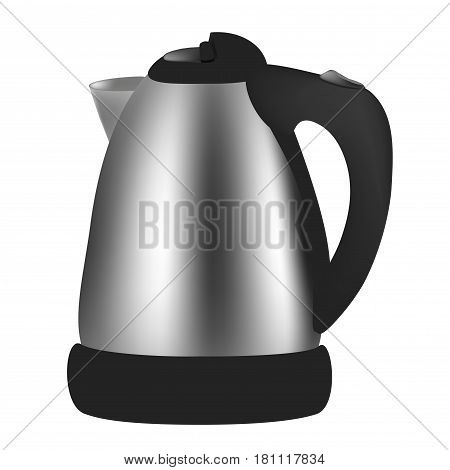 kettle with steam on a neutral background.