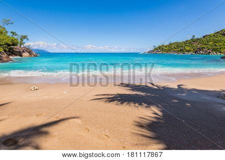 Sunny day on fantastic wild Anse Major beach Mahe island Seychelles Indian Ocean Eastern Africa. Summer holiday concept.