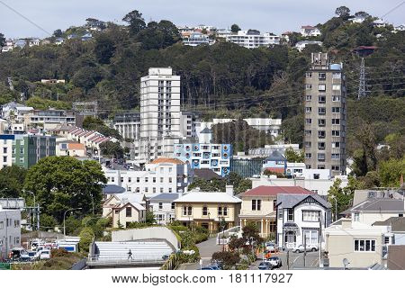 Apartment buildings of Wellington city residential district (New Zealand).