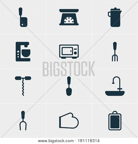 Vector Illustration Of 12 Restaurant Icons. Editable Pack Of Oven, Chopping Desk, Wine Opener And Other Elements.