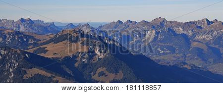 Wiriehore and other mountains in the Bernese Oberland. View from mount Niesen.