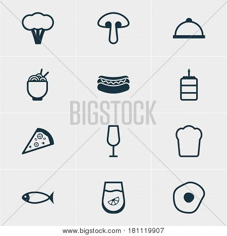 Vector Illustration Of 12 Food Icons. Editable Pack Of Cotton, Goblet, Scrambled Egg And Other Elements.