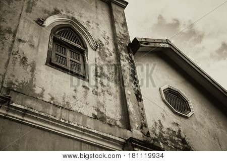 Haunted And Horror Building Windows Retro Aged Gothic Style House.