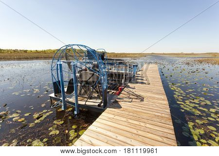 Airboat at a jetty in the Everglades National Park. Florida United States