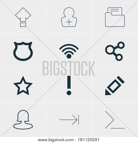 Vector Illustration Of 12 User Icons. Editable Pack Of Startup, Alert, Tabulation Button And Other Elements.