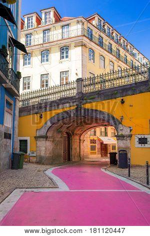 The famous pedestrian Pink street of Rua Nova do Carvalho in the Cais do Sodre area of Lisbon, Portugal