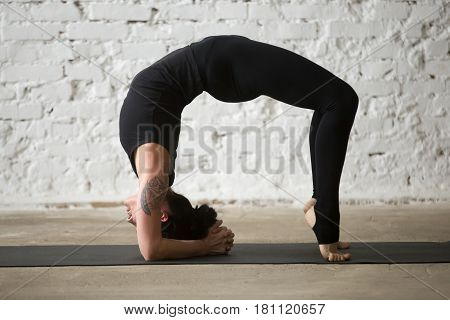 Young yogi attractive woman practicing yoga concept, doing Elbow Bridge exercise, Urdhva Dhanurasana pose, working out wearing sportswear black pants, full length, white loft background. Side view