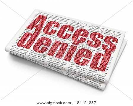 Privacy concept: Pixelated red text Access Denied on Newspaper background, 3D rendering