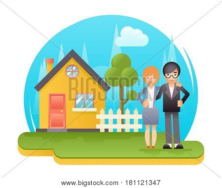 Happy Young Family New House Real Estate Retro Flat Design Concept Template Vector Illustration