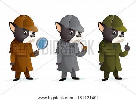 Bulldog detective magnifying glass thumb up smoking pipe investigation mascot cartoon design victorian vector illustration