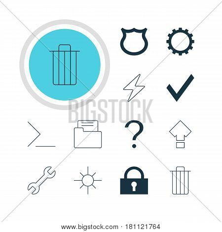 Vector Illustration Of 12 Interface Icons. Editable Pack Of Padlock, Conservation, Startup And Other Elements.