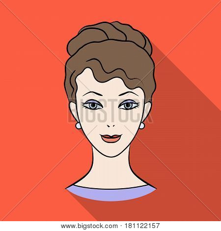 Avatar of a girl with brown hair.Avatar and face single icon in flat style vector symbol stock web illustration.