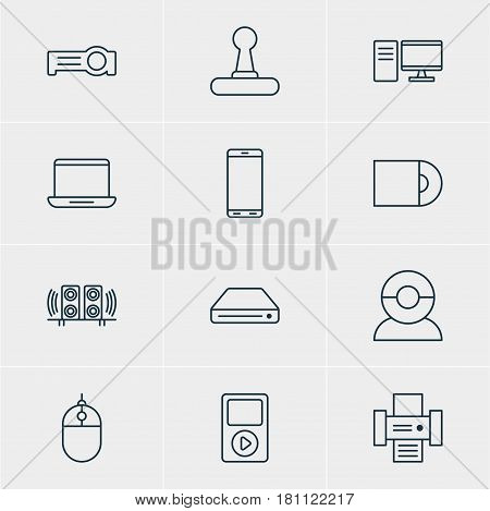 Vector Illustration Of 12 Hardware Icons. Editable Pack Of Video Chat, Dvd Drive, Floodlight And Other Elements.