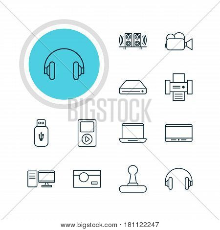 Vector Illustration Of 12 Device Icons. Editable Pack Of Memory Storage, Photocopier, Photography And Other Elements.