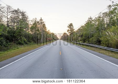 Tamiami Trail scenic highway US 41 view at the sunset. Florida United States