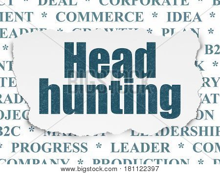 Business concept: Painted blue text Head Hunting on Torn Paper background with  Tag Cloud