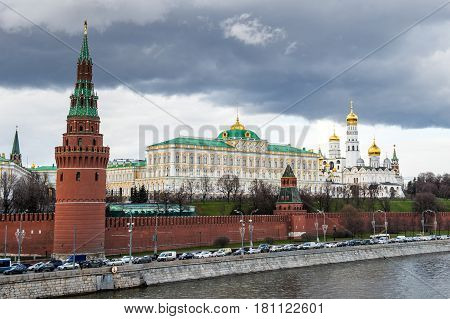 Kremlin is a fortified complex at the heart of Moscow the Moskva River Saint Basil's Cathedral and Red Square protected by Kremlin Wall with Kremlin tower