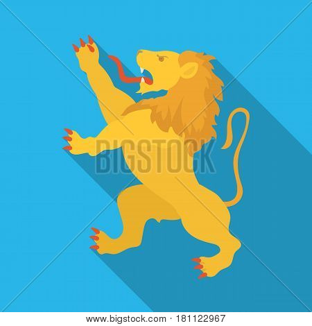 Golden lion symbol of belgium.The dark Belgian wolf. Belgium single icon in flat style vector symbol stock web illustration.
