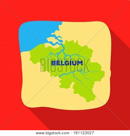 A fragment of the map of Belgium.The dark Belgian wolf. Belgium single icon in flat style vector symbol stock web illustration.