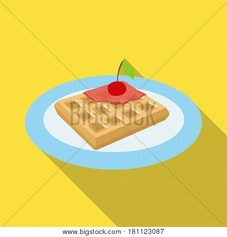 Wafers with cherry syrup on a plate.The dark Belgian wolf. Belgium single icon in flat style vector symbol stock web illustration.