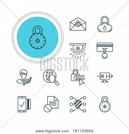 Vector Illustration Of 12 Web Safety Icons. Editable Pack Of Easy Payment, Internet Surfing, Safety Key And Other Elements.