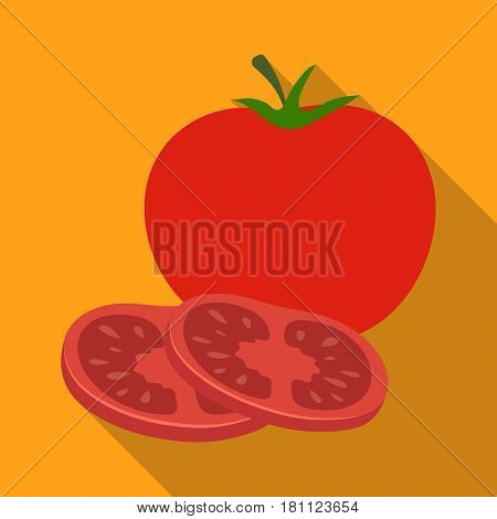 Tomato with a leaf.Burgers and ingredients single icon in flat style vector symbol stock web illustration.