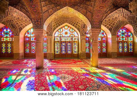 OCTOBER 23 2016 - Shiraz the Islamic Republic of Iran : The morning sunlight shining through the stained-glass creates the great array of colors projected into the prayer halls.
