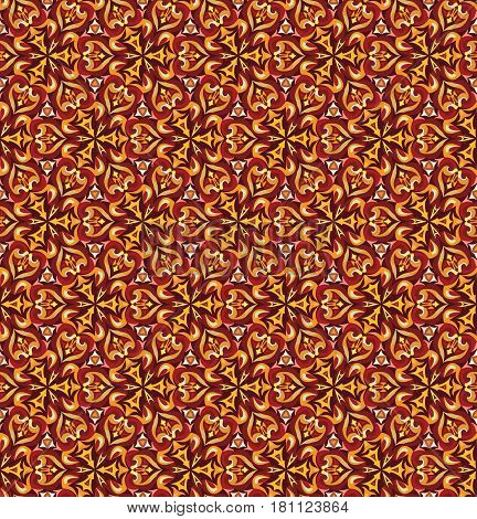 Decorative seamless pattern for home decor. Vector background flower texture. Autumn red yellow brown ocher colors.