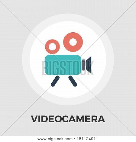 Video Camera Icon Vector. Flat icon isolated on the white background. Editable EPS file. Vector illustration.