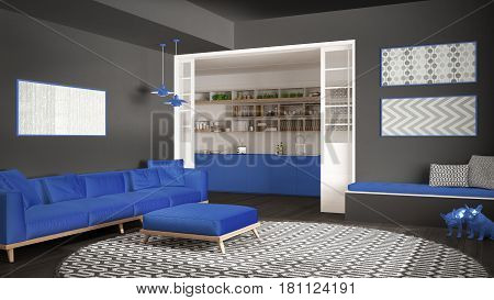 Minimalist living room with sofa big round carpet and kitchen in the background gray and blue navy modern interior design, 3d llustration