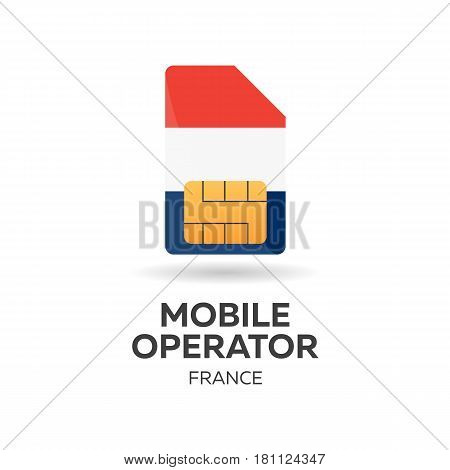 France Mobile Operator. Sim Card With Flag. Vector Illustration.