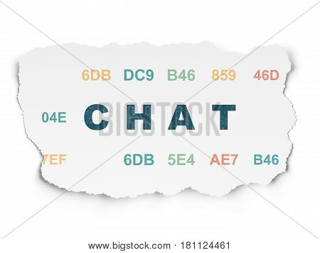 Web design concept: Painted blue text Chat on Torn Paper background with  Hexadecimal Code