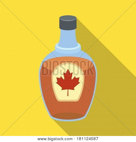 Canadian maple syrup in a bottle. Canada single icon in flat style vector symbol stock illustration .