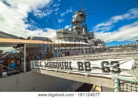 HONOLULU, OAHU, HAWAII, UNITED STATES - AUGUST 21, 2016:Missouri Battleship Memorial USS BB-63 in Pearl Harbor Honolulu Hawaii, Oahu island of United States. National historic patriotic landmark.