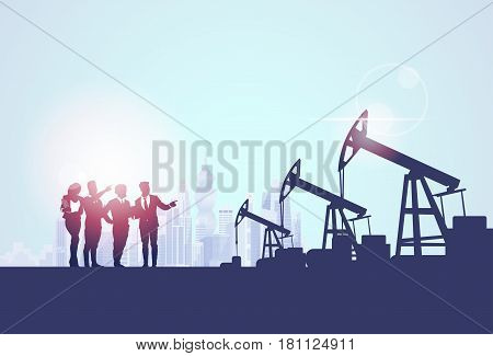 Businesspeople Group Oil Industry Business Company Pump Petrol Banner Flat Vector Illustration