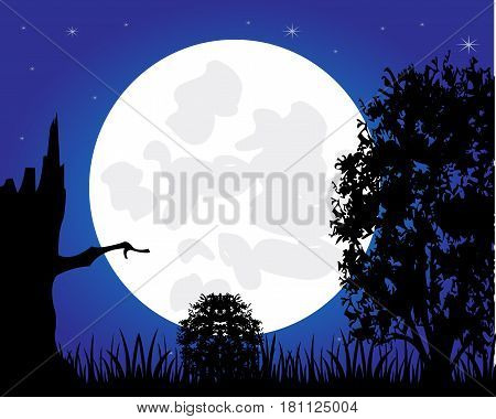 Moon night and silhouettes tree on background sky