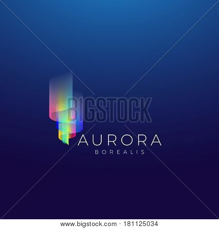 Aurora Borealis Abstract Vector Sign, Emblem or Logo Template. Premium Quality Symbol on Dark Background.